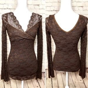 {Anthropologie} NWT Brown Lace Empire Waist Blouse